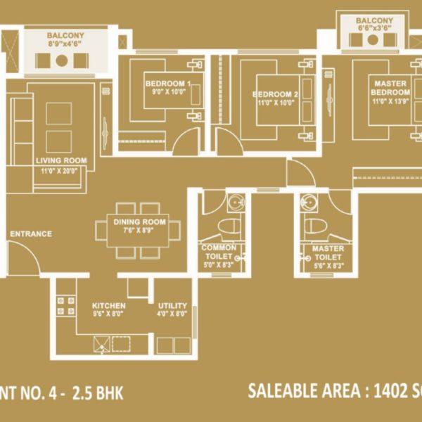 hiranandani-evita-2.5 bhk-floor-plan